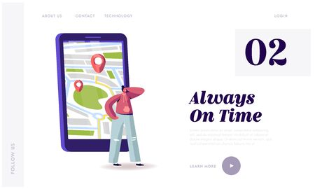 Smart App for Auto Service Order by Phone Landing Page Template. Woman Ordering Taxi or Food Delivery with Mobile Application on Smartphone. Customer Character Waiting Car. Cartoon Vector Illustration