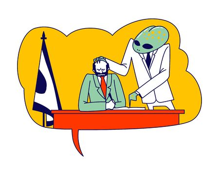 Conspiracy Theory Concept. Alien Character Wearing White Formal Costume Control President Mind Put hand on Head Force to Signing Politics Document. Humanoid Managing World. Linear Vector Illustration