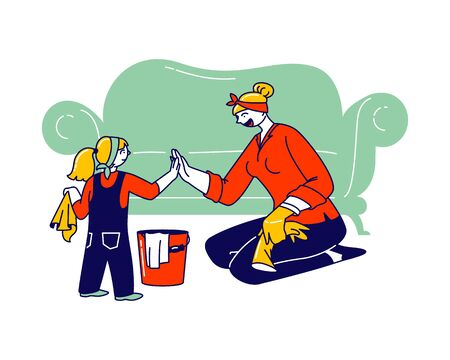 Mother and Little Daughter Characters Household Activities. Young Woman and Girl Giving High Five, Cleaning Home and Wiping Dust Together. Weekend Chores and Duties. Linear People Vector Illustration