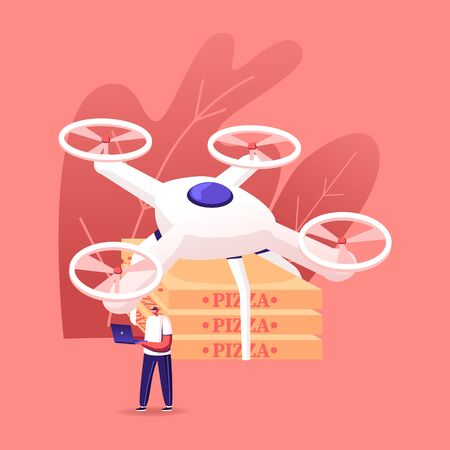 Young Man Character Holding Telecontrol Pad for Navigating Flying Drone with Remote Control Delivering Pizza Boxes to Customers. Quadcopter Food Delivery, Air Shipping. Cartoon Vector Illustration