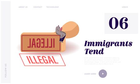 Illegal Immigrant Deportation, Immigration and Law Violation Landing Page Template. Male Character in Blanket with Hot Drink Cup in Hands Sitting on Huge Rubber Seal Stamp. Cartoon Vector Illustration Illustration