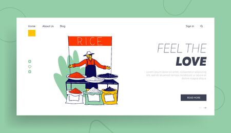 Man Presenting Crop of Cereals on Outdoor Fair Landing Page Template. Friendly Seller Character Inviting to Buy Rice in his Stand on Asian Market. Plates and Bags with Rice. Linear Vector Illustration