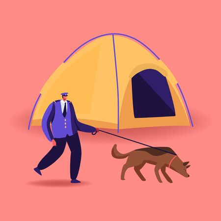 Border Guard Character with Dog on Leash Searching Illegal Immigrants in Refugees Camp with Tent. Border Protection Agent or Police Officer Occupation, Territory Patrol. Cartoon Vector Illustration