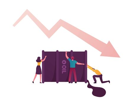 Tiny Male and Female Characters Trying to Pick Up Huge Barrel with Pouring Oil and Falling Arrow. Global Worldwide Finance Crisis, Oil War Concept. Earth Pollution. Cartoon People Vector Illustration