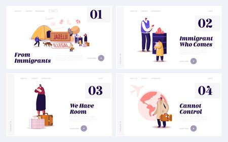 Problem of Illegal Immigration Landing Page Template Set. Adults and Kids Characters Cross Border, Immigration Control Service Searching Refugees Living on Street. Cartoon People Vector Illustration
