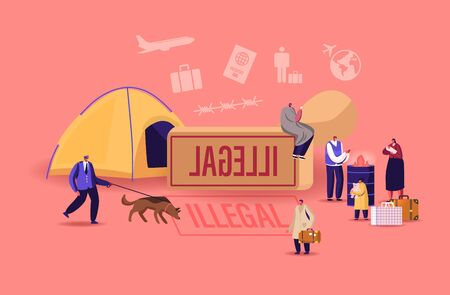 Problem of Illegal Immigration Concept. Male, Female and Little Children Characters Crossing Border, Immigration Control Service Searching Refugees Living on Street. Cartoon People Vector Illustration