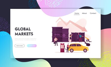 Oil War Landing Page Template. Tiny Characters Pick Up Huge Barrel with Pouring Oil, Man Filling Car on Station, Businessman with Briefcase. Falling Arrow Price. Cartoon People Vector Illustration