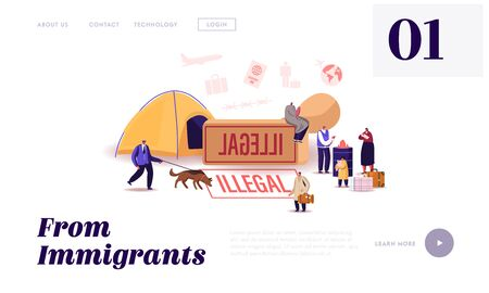 Problem of Illegal Immigration Landing Page Template. Adults and Children Characters Cross Border, Immigration Control Service Searching Refugees Living on Street. Cartoon People Vector Illustration Illustration