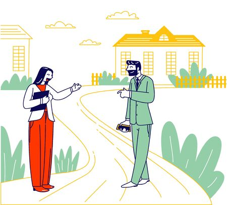 Businessman and Woman Real Estate Broker Agree House Tour Stand at Cottage Buildings at Countryside Area. Male Character with Smartphone in Hand Prepare to Buy House. Linear People Vector Illustration