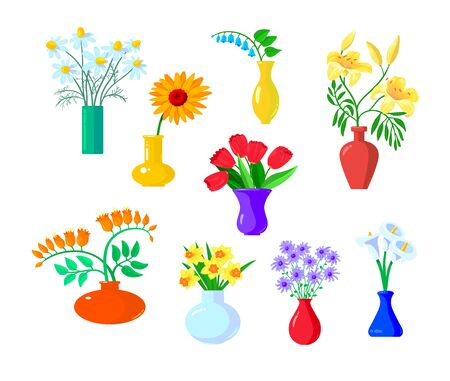 Set of Icons Flowers Chamomile, Gerber and Tulip, Lilly , Daffodil, with Narcissus Stand in Vases Isolated on White Background. Beautiful Spring and Summer Blossoms. Cartoon Vector Illustration