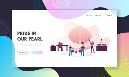 Pearl Farm Landing Page Template. Characters Use Implantation of Irritant in Oyster Shell Produce Woman Take Out Pearls Men Hold Net with Conches, Jewelry Store. Cartoon People Vector Illustration