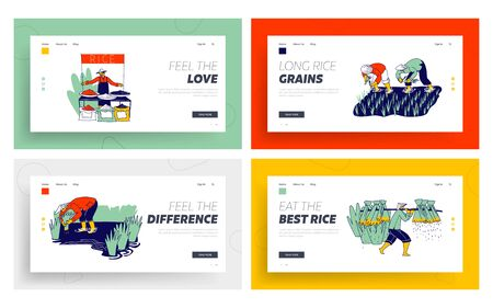 Farmers Characters Planting and Grow Rice in Rainy Season Landing Page Template Set. Farmer in Thailand or China Selling Different Types of Rice Grain on Fair Market. Linear People Vector Illustration