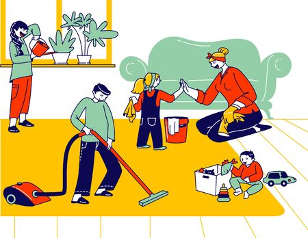 Children Help Mother to Clean Home. Little Helpers Kids Characters Household Activity Watering Plants, Vacuuming Floor, Wipe Dust. Big Happy Family Weekend Chores. Linear People Vector Illustration Ilustração