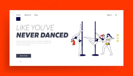 Pole Dance Landing Page Template. Girls Pole Dancers Workout and Exercising in Studio Training Choreography with Help of Trainer Woman. Female Characters Practicing. Linear People Vector Illustration