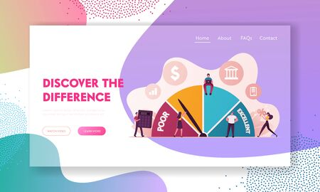 Credit Score Rating Landing Page Template. Debt Report Showing Creditworthiness or Risk of Individuals for Loan, Mortgage and Payment Card. Characters Choose Credit. Cartoon People Vector Illustration Çizim