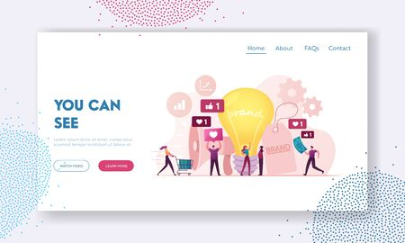 Brand Awareness Campaign Landing Page Template. .Tiny Marketers Characters with Huge Megaphone and Light Bulb. Product Research Result, Marketing Survey Metrics. Cartoon People Vector Illustration