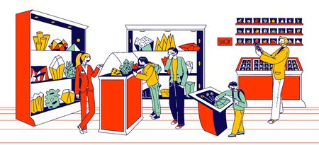 Minerals Exhibition Concept. Visitors Male, Female and Children Characters Visiting Museum or Store with Different Stones and Crystals Lying on Shelves, Buying. Linear People Vector Illustration