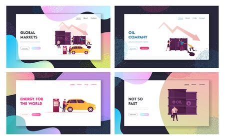 Oil War Landing Page Template Set. Tiny Characters Pick Up Huge Barrel with Pouring Oil, Man Filling Car on Station, Businessman with Briefcase. Falling Arrow Price. Cartoon People Vector Illustration Çizim