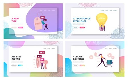 Brand Awareness Campaign Landing Page Template Set. Tiny Marketers Characters with Huge Megaphone and Light Bulb. Product Research Result, Marketing Survey Metrics. Cartoon People Vector Illustration