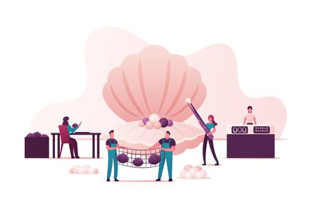 Characters Use Surgical Implantation of Irritant in Oyster Shell Produce Pearls on Cultured Farm, Woman Take Out Pearls Men Hold Net with Conch, Jewelry Store. Cartoon People Vector Illustration