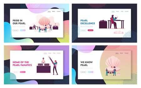 Pearl Farm Landing Page Template Set. Characters Use Implantation of Irritant in Oyster Shell Produce Woman Take Out Pearls Men Hold Net with Conches, Jewelry Store. Cartoon People Vector Illustration Çizim