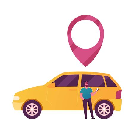 Male Character Use Car Sharing Service for Transportation in City. Man Stand at Auto with Gps Pin above Roof. Taxi, Automobile Rental and Share Mobile Online Application. Cartoon Vector Illustration Ilustração