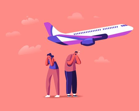 Male and Female Characters Suffering of Noise Pollution. Big City Stress, Dwellers Covering Ears to Stop Hearing Loud Sounds and Tinnitus Made by Take Off Airplane. Cartoon People Vector Illustration