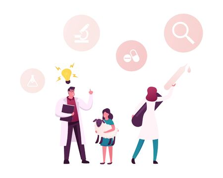 Cultured Meat Development Technology in Laboratory Conditions. Little Girl Holding Sheep on Hands. Scientist Male Character Have Great Idea. Woman with Huge Pipette. Cartoon People Vector Illustration