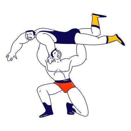 Male Characters Wrestling Fight. Sportsman Holding Opponent above Head during Competition. Sport, Show Performance Vektorgrafik