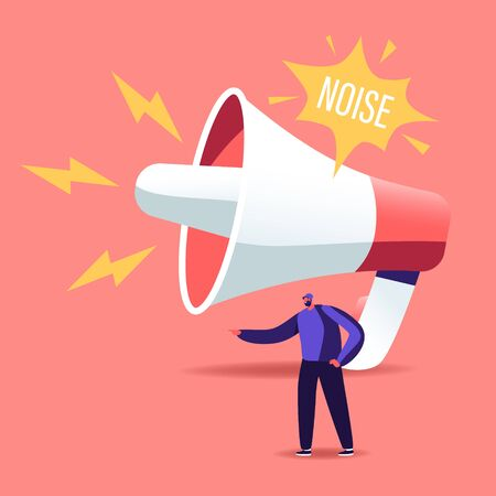 Tiny Male Character stand at Huge Megaphone Suffering of Noise Pollution. Big City Dweller Hearing Loud Sounds and Tinnitus. Loudspeaker Making Strong Uproar. Cartoon People Vector Illustration