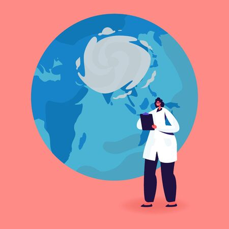 Female Character in White Robe Writing in Clipboard stand at Earth Globe with Cyclone Vortex. Meteorological Investigation, Weather Forecast, Meteorology and Cartography. Cartoon Vector Illustration