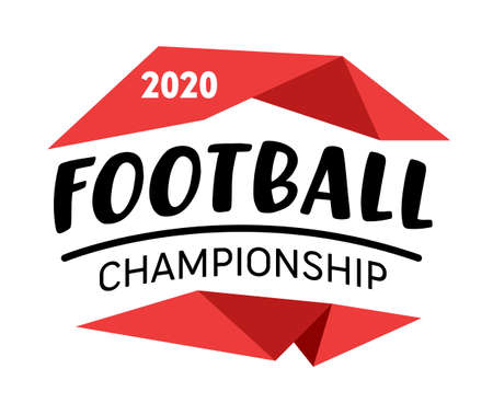 Football Championship 2020 Banner, Badge with Creative Typography and Red Geometric Elements Isolated Ilustração