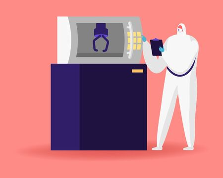 Factory Scientist Character in Sterile Clothing Work on Modern Industrial 3D Printing Machinery. Pharmaceutical, Biotechnological and Semiconductor Manufacturing Process. Cartoon Vector Illustration