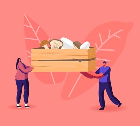 Tiny Male and Female Characters Carry Huge Wooden Box with Various Mushrooms Cep, King Oyster and Champignons. Homemade Fungiculture Growing Hobby, Harvesting. Cartoon People Vector Illustration