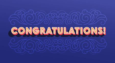 Creative Banner with Congratulation Typography, Greeting Card with Ornamental Print on Deep Blue Background. Social Media Followers Greeting, Winner, Anniversary or Birthday Event. Vector Illustration