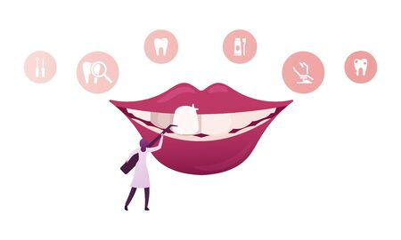 Tiny Female Dentist Doctor Character in Medical Robe Holding Stomatologist Instrument Install Dental Veneers to Huge Mouth in Clinic Cabinet, Aesthetic Stomatology Concept. Cartoon Vector Illustration Vettoriali