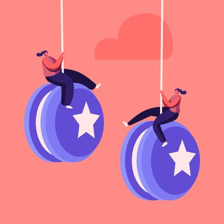 Tiny Female Characters Hang on Huge Yo-yo. Effect Mean People Rapidly Gaining Weight after Diet. Failure, Disruption of Healthy Eating and Lifestyle. Weight Control. Cartoon People Vector Illustration  イラスト・ベクター素材