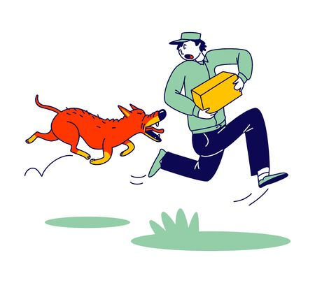 Delivery Man Character with Parcel in Hands Run Away of Aggressive Dog Chasing him on Street. Danger of Mailman Work. Angry Animal Protect Territory of Stranger, Pet Attack. Linear Vector Illustration