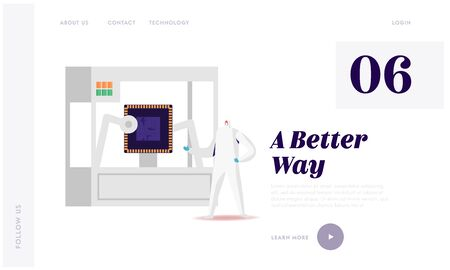 Technology Innovation, Manufacture Landing Page Template. Engineer Character Control 3d Printing Process. Automatic Three Dimensional Printer Create Semiconductor. Cartoon Vector Illustration