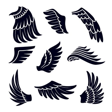 Wings Black Silhouettes Icons Set Isolated on White Background. Birds or Angel Emblem Design Elements
