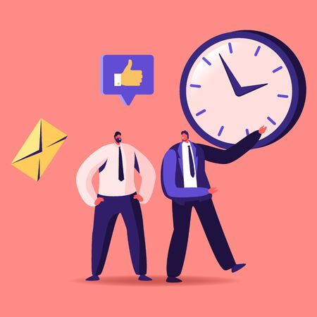 Time Management, Sales Funnel, Procrastination in Business. Businessman Character Point on Huge Clock to Colleague