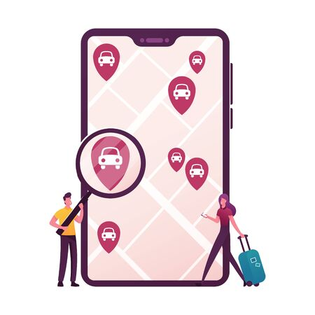 Tiny Characters with Magnifier and Luggage at Huge Mobile Order Car Sharing Service for Transportation in City. Taxi, Automobile Rental and Share Using Mobile App. Cartoon People Vector Illustration