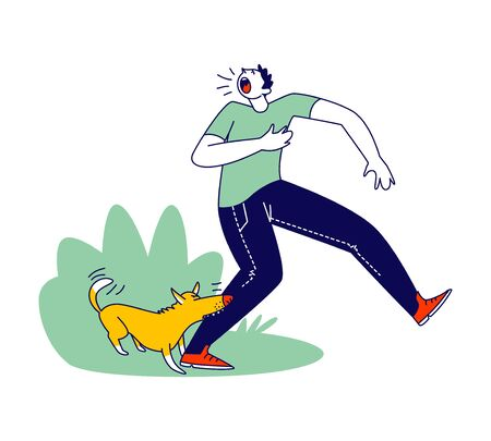 Aggressive Dog Biting Man Leg. Male Character Attacked with Angry Animal on Street Crying and Feel Pain