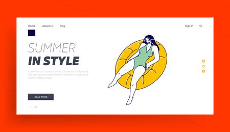 Relax in Swimming Pool, Ocean or Sea Landing Page Template. Female Character Enjoying Summer Time Vacation