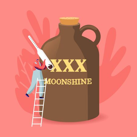 Tiny Male Character Holding Alcohol Meter Stand on Ladder at Huge Jug with XXX Moonshine Inscription