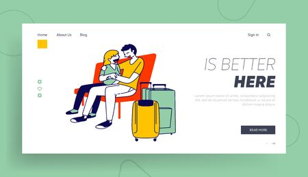 People Waiting for Airplane Boarding Landing Page Template. Couple Hugging on Bench in Airport Terminal Waiting Area