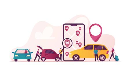 Characters Ordering Online Taxi Cars, Rent and Sharing Automobiles Using Mobile Application Service