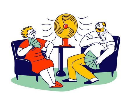 Summer Hot Period of Time Concept. Sweltering in Heat Aged People Characters Sitting on Sofa Use Fans 矢量图像
