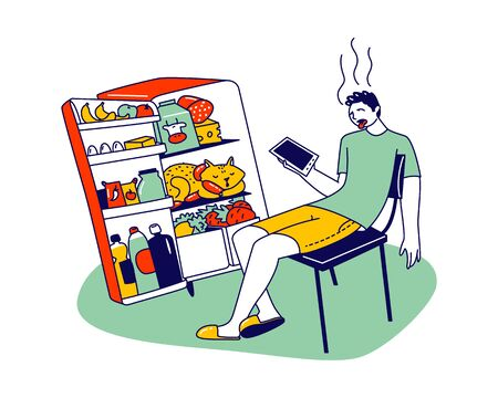 Unhappy Male Character Sweating Sitting at Home with Open Refrigerator Suffering of High Temperature during Summer