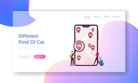 Taxi, Automobile Rental and Share Using Mobile App Landing Page Template. Tiny Characters with Magnifier